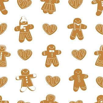 Weihnachten lebkuchenmann cookie nahtlose muster neujahrsmuster lebkuchenplätzchen in der form