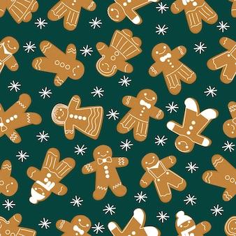 Weihnachten lebkuchenmann nahtlose muster neujahrsplätzchen ingwermann muster auf einem grün