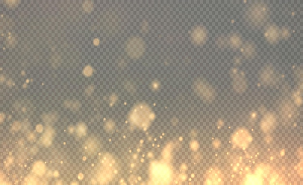Weihnachten leuchtendes licht gold bokeh konfetti und funken überlagern gold textur für ihr design