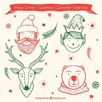 Weihnachten liebenswerte charaktere skizzen