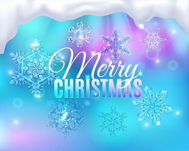Weihnachten mit bearbeitbarem text und nebligen glasschneefalken
