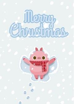 Weihnachten mit dem schwein, das schneeengel macht.