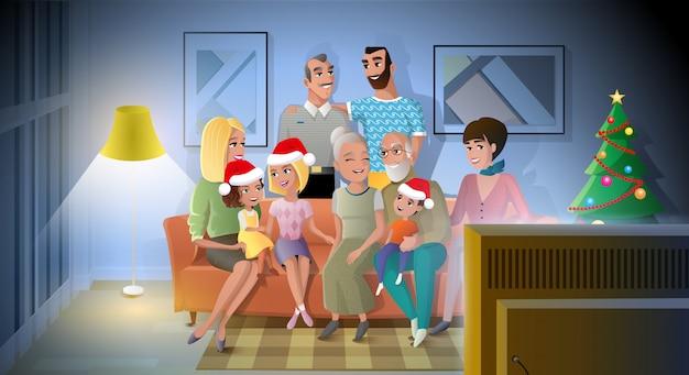 Weihnachten mit familienkarikatur-vektor feiern