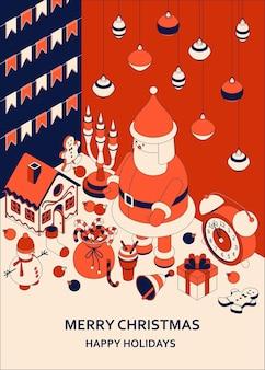 Weihnachten mit isometrischen niedlichen spielzeugen. lustiges weihnachtsmann- und lebkuchenhaus. weihnachtsgruß