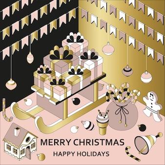 Weihnachten mit isometrischen niedlichen spielzeugen. Premium Vektoren