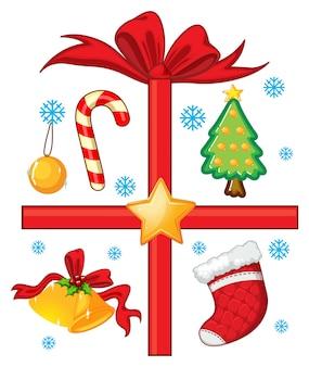 Weihnachten mit ornamenten und geschenk