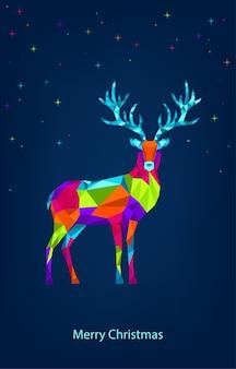 Weihnachten mit polygonalen weihnachtsrentieren und sternen.