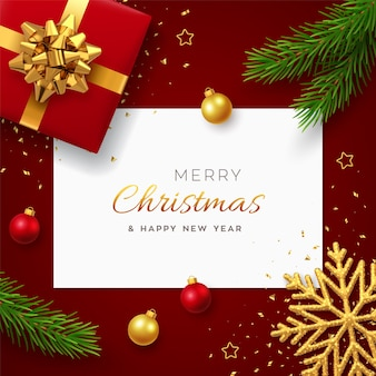 Weihnachten mit quadratischem papierbanner