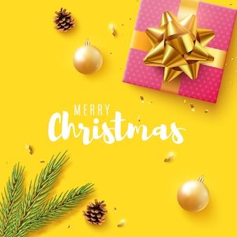 Weihnachten. mit realistischer geschenkbox, glitzerndem goldkonfetti.