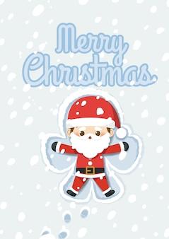 Weihnachten mit santa claus, der schneengel macht.