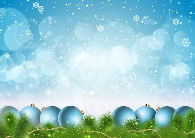 Weihnachten mit schneeflocken und kugeln design
