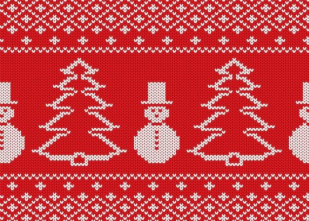 Weihnachten mit schneemännern und weihnachtsbäumen stricken. geometrisches gestricktes nahtloses muster.