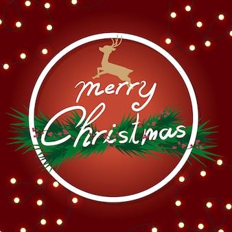 Weihnachten mit verziert von den kiefernniederlassungen im hintergrundrot.