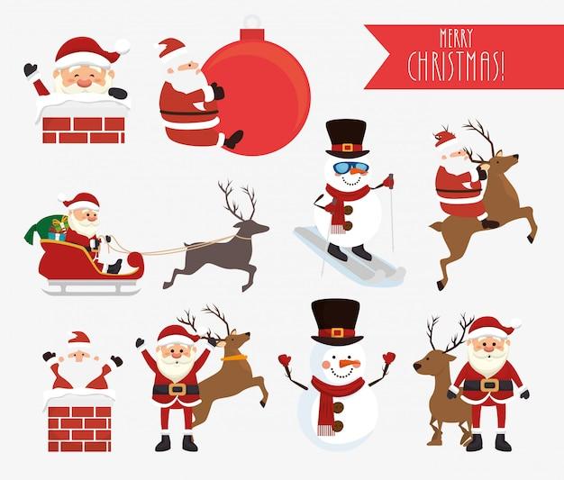 Weihnachten mit weihnachtsmann und schneemann gesetzt
