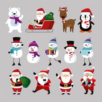 Weihnachten mit weihnachtsmann und set zeichen