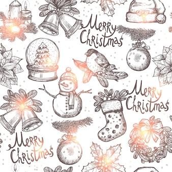 Weihnachten monochromes nahtloses muster mit skizzenobjekten