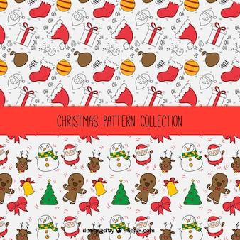 Weihnachten muster mit niedlichen figuren und handgezeichnete elemente