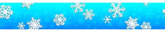 Weihnachten nahtlose banner mit weißen schneeflocken mit schatten auf hellblauem hintergrund