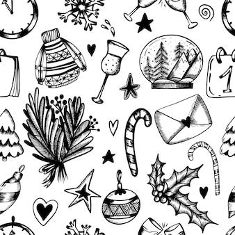 Weihnachten nahtlose muster auf weißem hintergrund weihnachtsdruck in der hand zeichnen stil