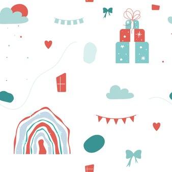 Weihnachten nahtlose muster. geschenkbox, winterregenbogen und wolken auf weißem hintergrund. vektor-illustration.