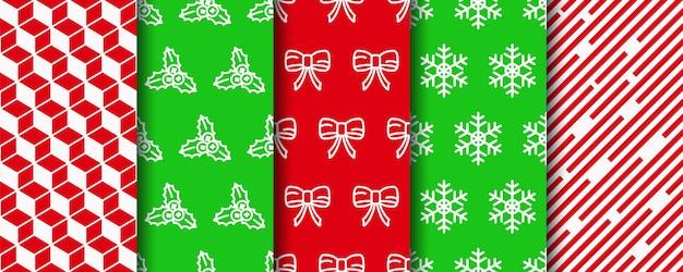 Weihnachten nahtlose muster gesetzt. festliches nahtloses geschenkpapier.