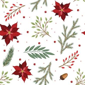 Weihnachten nahtlose muster. kiefernzweige, rote beeren, weihnachtsbaum. weihnachtsferien im winter.