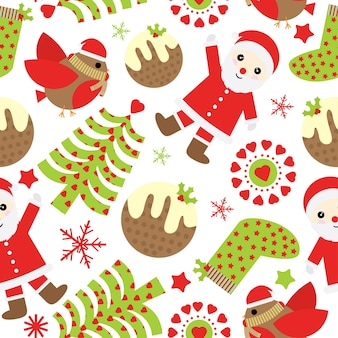 Weihnachten nahtlose muster mit niedlichen weihnachtsmann und weihnachten ornamente