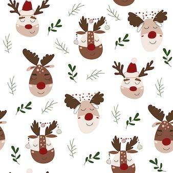 Weihnachten nahtlose muster mit rentieren. vektor-illustration.