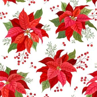 Weihnachten nahtlose muster mit winterblume, poinsettia, mistel, zweige des rowan tree mit beeren. handgezeichnete florale vektorillustration für packpapier, textil, stoff, druck, tapete