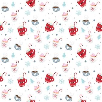 Weihnachten nahtlose muster süßigkeiten, becher und schneeflocke