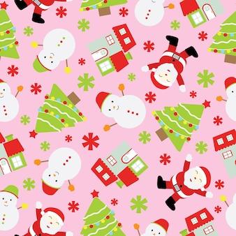 Weihnachten nahtlose muster von santa claus und schneemann auf rosa hintergrund