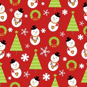 Weihnachten nahtlose muster von schneemann und weihnachtsbaum auf rotem hintergrund