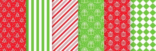 Weihnachten nahtlose muster. weihnachtshintergründe. drucke mit baum, streifen, schnee, geschenkbox, kugeln und karo