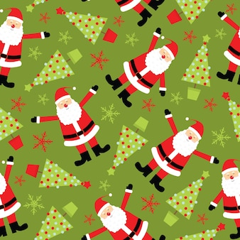 Weihnachten nahtlose muster weihnachtsmann und weihnachtsbaum auf grünem hintergrund