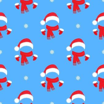 Weihnachten nahtlose muster. weihnachtsmannmütze, handschuhe und schal. dekoration für das neue jahr.