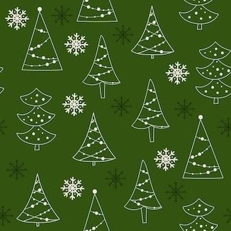 Weihnachten nahtlose musterdesign mit baumkonturen. vektor-illustration.