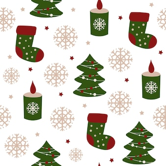 Weihnachten nahtlose musterdesign mit socken. vektor-illustration. Premium Vektoren