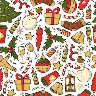 Weihnachten nahtloses muster mit doodle