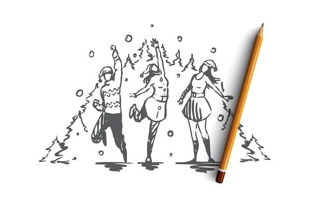 Weihnachten, neujahr, mit freunden konzept feiern. gruppe von freunden, die feiertag feiern und spaß zusammen haben. hand gezeichnete skizzenillustration