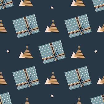 Weihnachten neujahr muster muster mit handgezeichneten weihnachts- und neujahrsgeschenken und weihnachtsbaum