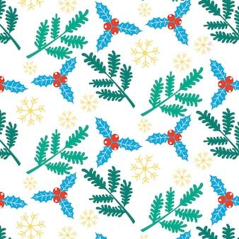 Weihnachten neujahr muster nadelzweige schneeflocken stechpalme stechpalme festlicher hintergrund