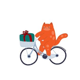 Weihnachten neujahr niedliche cartoon-katze mit fahrrad hand gezeichneten tier winter dezember urlaub