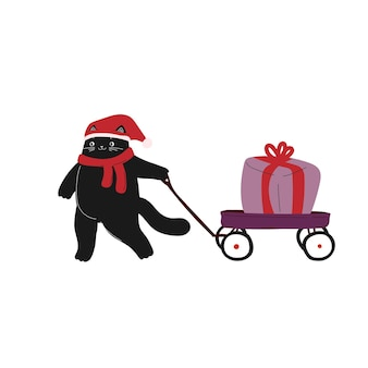 Weihnachten neujahr niedliche cartoon-katze mit wagen hand gezeichneten tier winter dezember urlaub