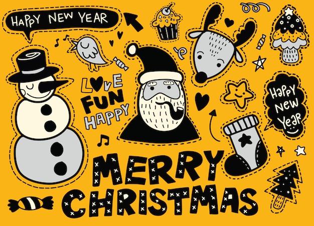 Weihnachten, neujahr süße symbole aufkleber set: patches von santa claus