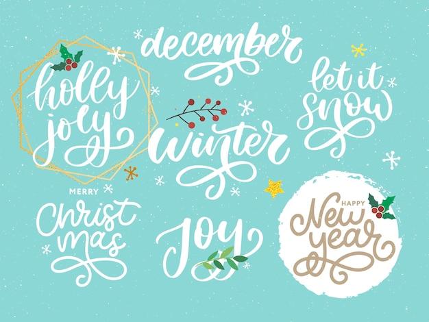 Weihnachten, neujahr, winterplakat. weihnachtsgrußkonzept.