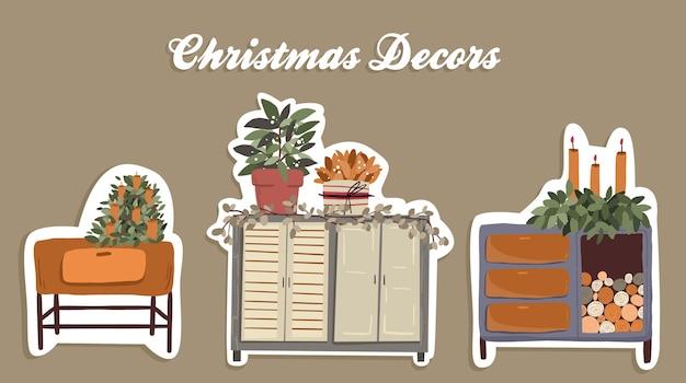 Weihnachten niedlichen cartoon elemente innendekor set aufkleber design