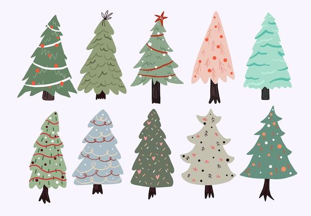 Weihnachten niedlichen cartoon elemente innendekor set aufkleber