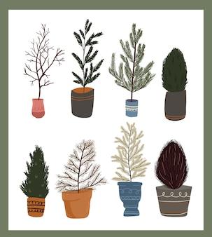 Weihnachten niedlichen cartoon elemente zimmerpflanze dekor set aufkleber design