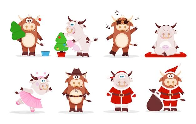 Weihnachten niedlichen ochsen und kuh chinesen