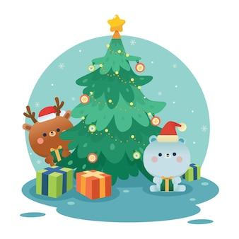 Weihnachten niedlicher eisbär und hirsch